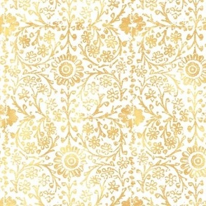 Indian Woodblock in Gold on White | Rustic gold floral, hand block printed pattern in yellow and white, botanical print, gold yellow block print design.