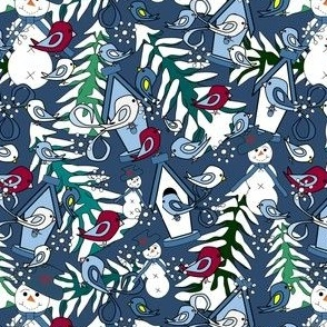 Winter Fun Snow, Birds, Snow and Trees Fabric