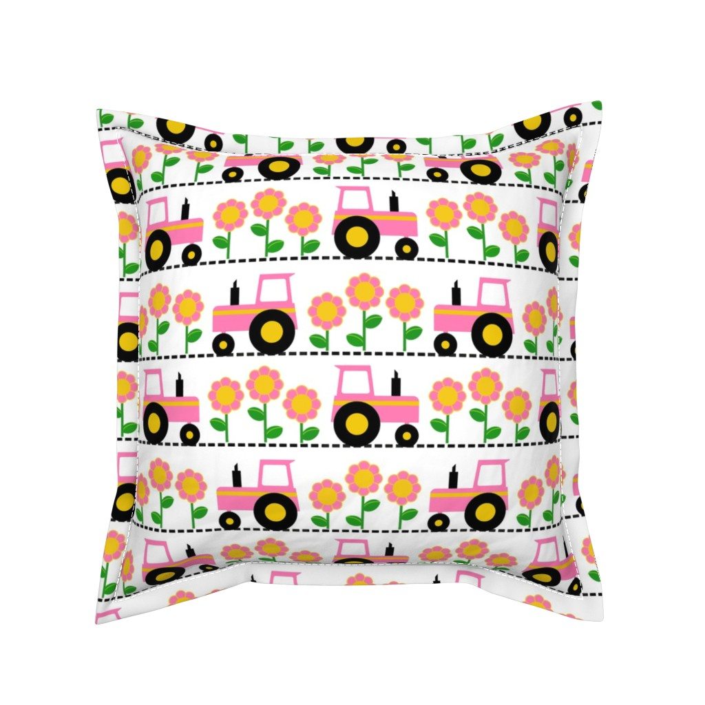 Serama Throw Pillow featuring Girly Pink Farm Tractor by tictactogs