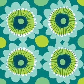Retro teal flowers