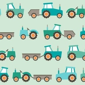 Tractors on green