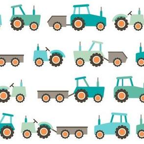 Tractors on white
