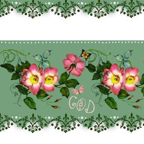 God is Love rosebud Border
