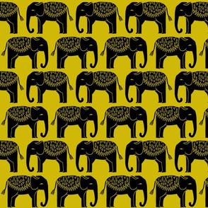 Elephant Parade Block Print - Goldenrod by Andrea Lauren
