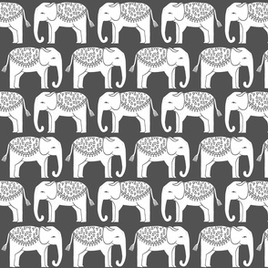 Elephant Parade Block Print - Charcoal/White by Andrea Lauren