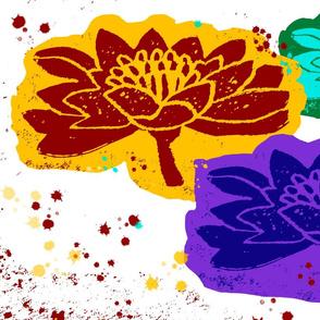 block print Lotus Trio
