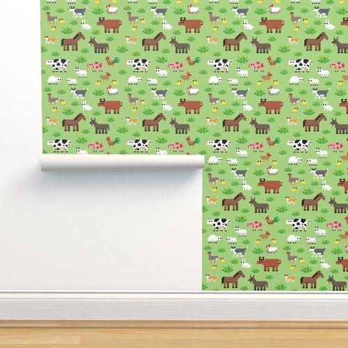 Papier Peint Coq Agriculture Pixel Art Chat Ane Chien Vache Taureau