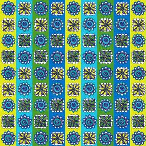 Flowers & Hoots - flower stripe blue