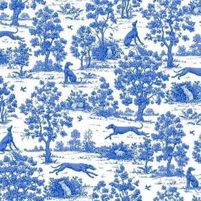 Bright Indigo Blue Greyhound Toile de Jouy  ©2010 by Jane Walker