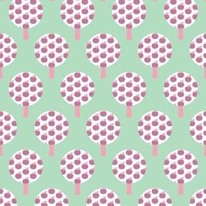 Retro apple tree mint forest pattern