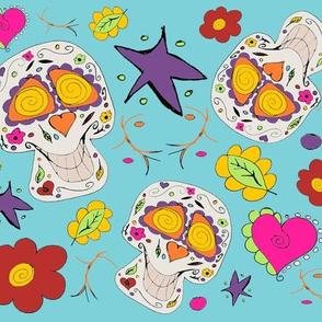 Day of the dead cute Calaveras Skulls