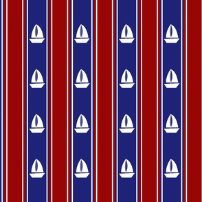 Nautical Sailboats on Blue and Red