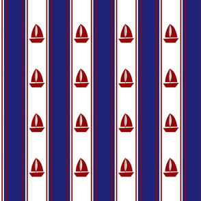 Nautical Sailboats on White and Blue