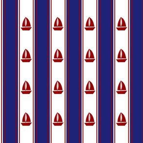 Nautical Sailboats on White and Blue
