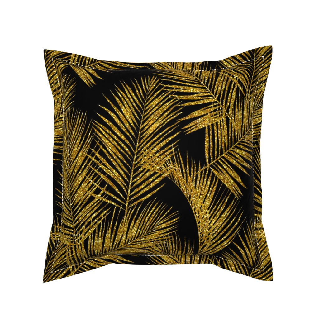 Serama Throw Pillow featuring gold glitter palm leaves - black, large. silhuettes faux gold imitation tropical forest black background hot summer palm plant leaves shimmering metal effect texture fabric wallpaper giftwrap by mirabelleprint