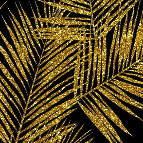gold glitter palm leaves - black, large. silhuettes faux gold imitation tropical forest black background hot summer palm plant leaves shimmering metal effect texture fabric wallpaper giftwrap