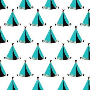 Tipee tent wigwam blue camping illustration print
