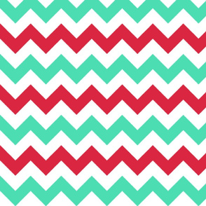 Red and Turquoise Chevron Stripes
