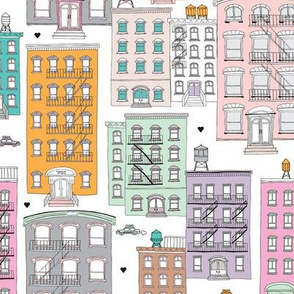 New York City brownstones house windows water tank and homes