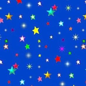 Rainbow Stars on Blue