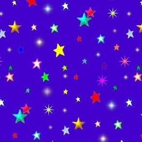 Colorful Rainbow Stars on Royal Blue/ Purple