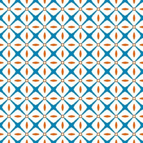 Interspersed   -turquoise & terracotta on white