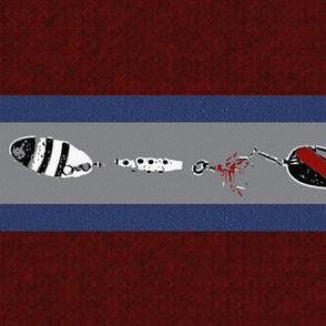 Fishing Lure Horizontal Stripes on Deep Red (large)