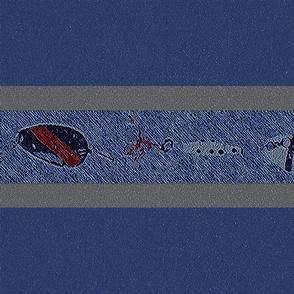 Fishing Lure Horizontal Stripes on Blue (big)