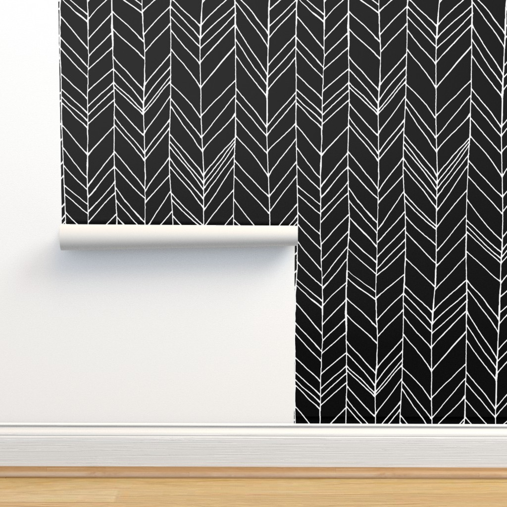 Isobar Durable Wallpaper featuring Featherland Large Black/White by leanne