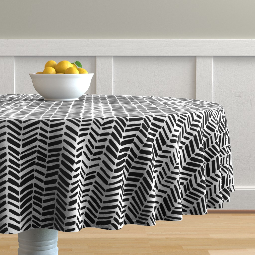 Malay Round Tablecloth featuring Impression White/Black by leanne