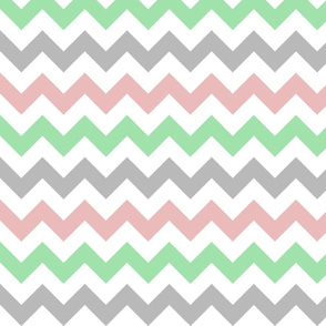 Pink, Green, and Grey Chevron Stripes