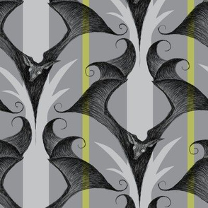 Stripes and Bats - gray/green