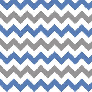 Grey and Blue Chevron Stripes