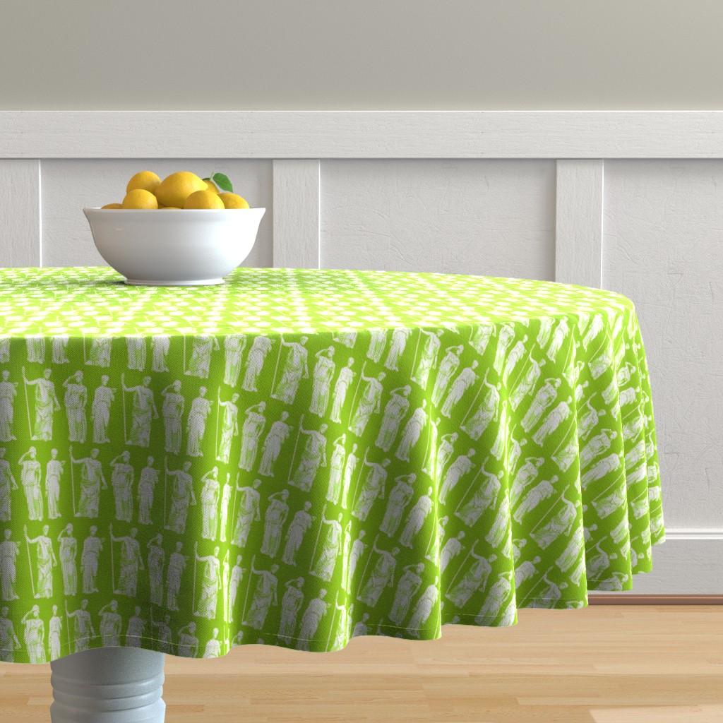 Malay Round Tablecloth featuring Kolonaki Goddess - Spring Green by siya