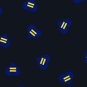 Blue Equality Hearts on Black