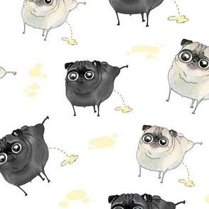 Pee Pilates - Peeing Pugs (black pug and fawn pug)