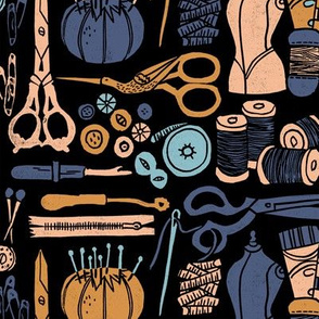 sewing notions // block print linocut scissors pincushions fabric andrea lauren linocut