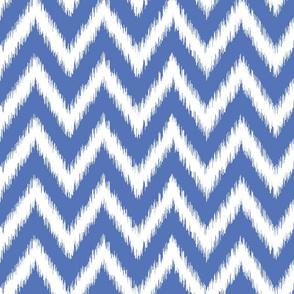 Royal Blue and White Ikat Chevron