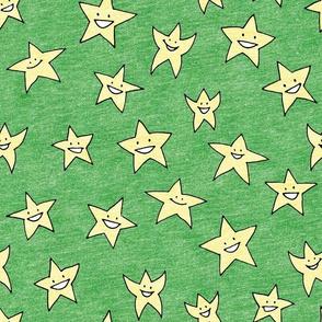 happy stars on green