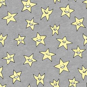 happy stars on grey