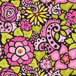 Black & Pink Doodly Flowers