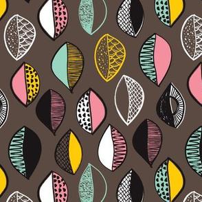 Trendy pastel pop petal leaf doodle illustration pattern