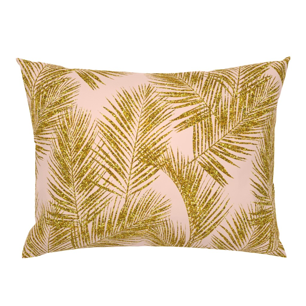 Campine Pillow Sham featuring gold glitter palm leaves - blush, large. silhuettes faux gold imitation tropical forest blush background hot summer palm plant leaves shimmering metal effect texture fabric wallpaper giftwrap by mirabelleprint