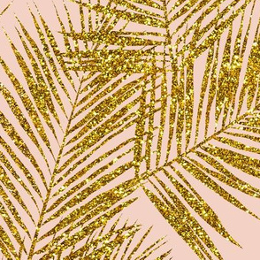 gold glitter palm leaves - blush, large. silhuettes faux gold imitation tropical forest blush background hot summer palm plant leaves shimmering metal effect texture fabric wallpaper giftwrap