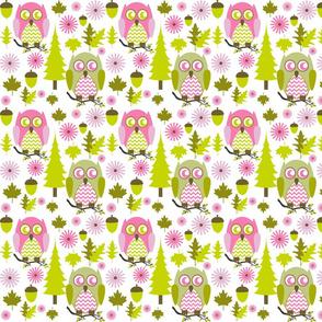 Pink & Green Owls