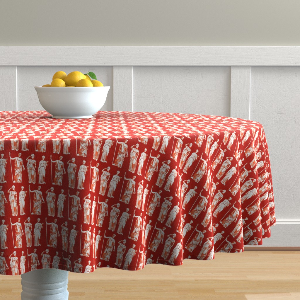 Malay Round Tablecloth featuring Kolonaki Goddess - Red by siya