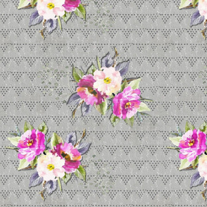 Watercolor Flowers on Grey
