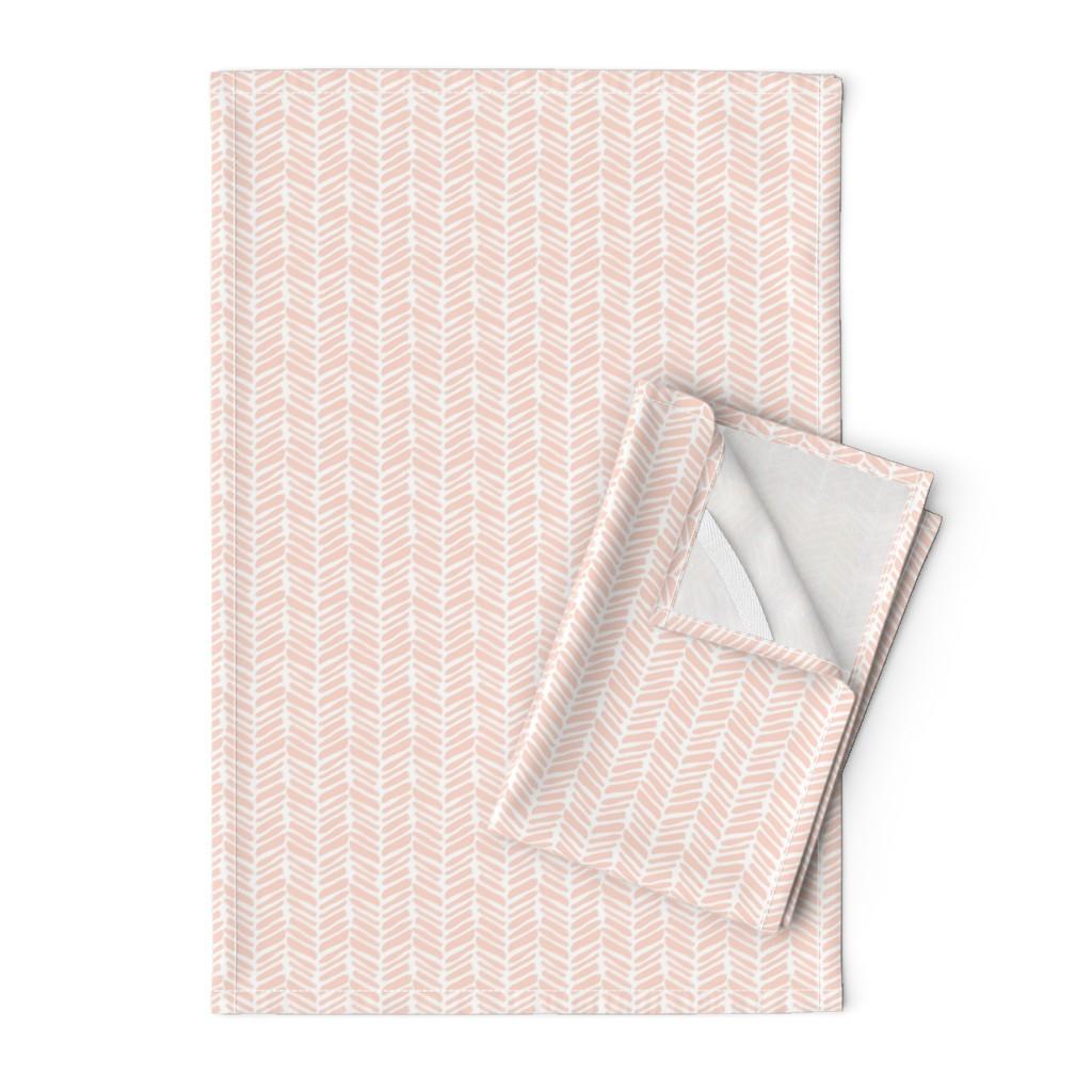 Orpington Tea Towels featuring coral painted herringbone by coramaedesign