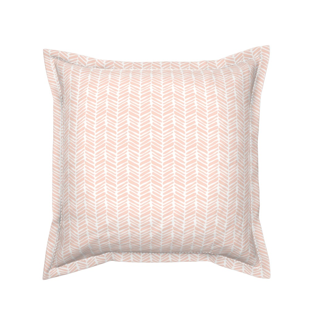 Serama Throw Pillow featuring coral painted herringbone by coramaedesign