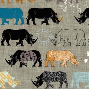 Ngorongoro Rhinos (Blue)